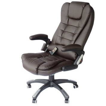Andover Mills Whiting Faux Leather Heated Massage Chair Upholstery: Brown