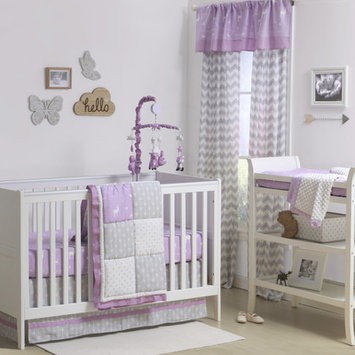 The Peanut Shell® Woodland Patchwork 4-Piece Crib Bedding Set in Purple/Grey