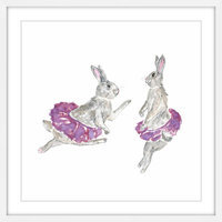 Marmont Hill Inc Marmont Hill - 'Dancing Rabbits' by Thimble Sparrow Framed Painting Print