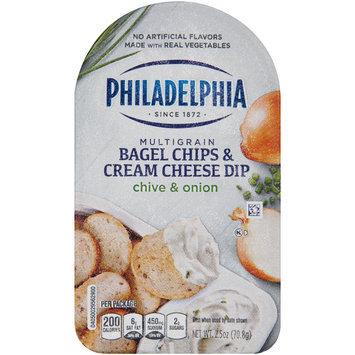 Philadelphia Multigrain Bagel Chips & Chive & Onion Cream Cheese Dip 2.5 oz. Tray