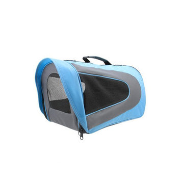 Speedy Pet Light Blue, Black and Gray Oxford Pet Carrier Bag with Shoulder Strap - Extra Large