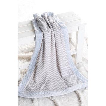 Harriet Bee Bairdstown Zigzag with Border Plush Blanket Color: Grey / Blue