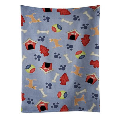 East Urban Home Dog House Chihuahua And Bone Microfiber Dishcloth