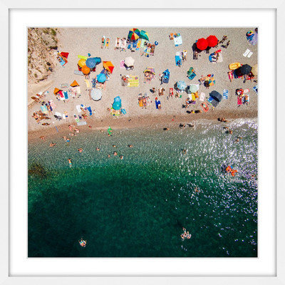Marmont Hill Inc Marmont Hill - 'Packed Beach' by Karolis Janulis Framed Painting Print