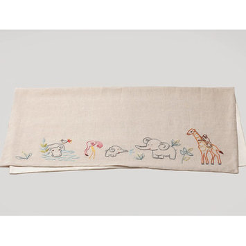 Coyuchi Critter Embroidered Linen Receiving Blanket Color: Natural with Multi