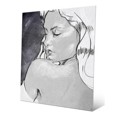 Click Wall Art 'Shoulder Glance Grayscale' Drawing Print on Metal Size: 14