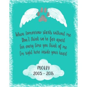 Hadleyhouseco Personalized Pet Memorial Textual Art Wall Plaque on Wood Matte Color: Teal Green