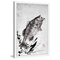 Marmont Hill Inc Marmont Hill - 'Black Bass Jump' by Dwight Hwang Framed Painting Print