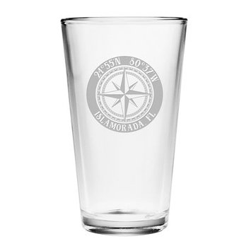 Longshore Tides Galvez Compass Rose 16 oz. Glass Pint Glass (Set of 4)