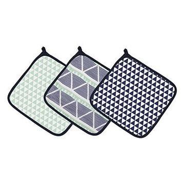 Bacati Emma Aztec Triangles Muslin 3 Piece Washcloth Set Color: Mint/Navy
