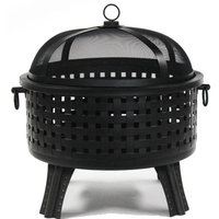 ALEKO Black Steel Fire Pit with Log Grate and Poker 25 Inches Diameter