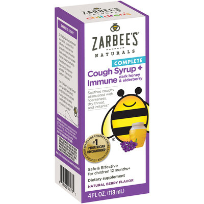 Zarbee's® Naturals Children's Complete Cough Syrup + Immune with Dark Honey & Elderberry, Natural Berry Flavor, 4 fl. oz. Box