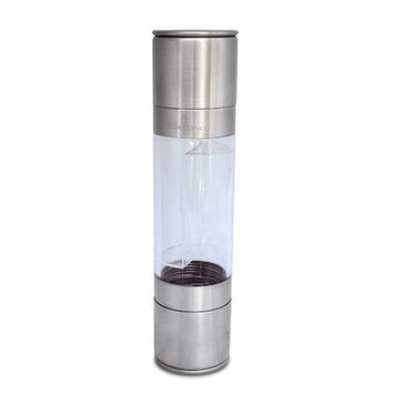 Culina? Double Mill Grinder Deluxe. Salt and Pepper Shaker. Clear Main Body, Aluminum End Grips