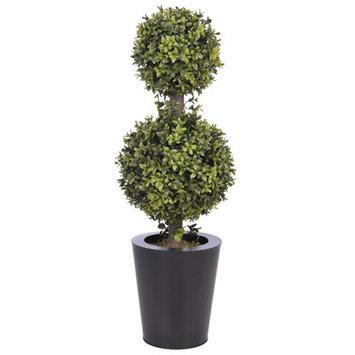 Alcott Hill Artificial Double Ball Topiary in Pot Base Color: Black Zinc