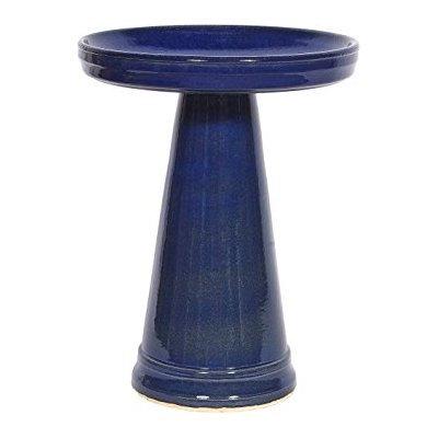 Burley Clay Products Simple Elegance Birdbath Top & Pedestal Set in Heaven Blue by Burley Clay