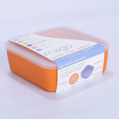 Frego BPA-Free Glass Food Storage Container, 4 Cups, Orange