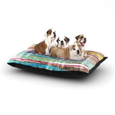 East Urban Home Frederic Levy-Hadida 'Fancy Stripes' Dog Pillow with Fleece Cozy Top Color: Light, Size: Large (50