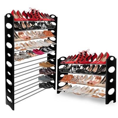 OxGord SRPL01-BK Shoe Rack Organizer, Stackable up to 10 Tiers, 50 Pairs, Black