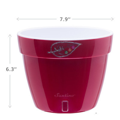 Santino Asti Round Pot Planter Color: Red/Pearl/White, Size: 6.3