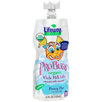 Lifeway® ProBugs™ Pretty Plain™ Organic Whole Milk Kefir Cultured Milk Smoothie 4 fl. oz. Pouch