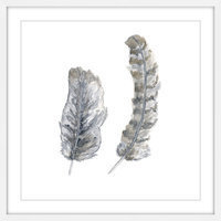 Marmont Hill Inc Marmont Hill - 'Brown-Grey Feathers' by Thimble Sparrow Framed Painting Print