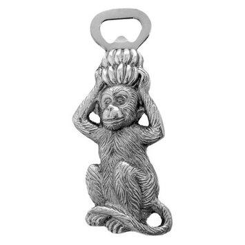 Monkey with Bananas Bottle Opener Polished Silver Aluminum Arthur Court Designs