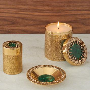 World Menagerie Decorative Bowl Color: Brass/Malachite