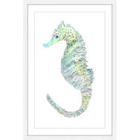 Marmont Hill Inc Marmont Hill - 'Teal Seahorse' by Thimble Sparrow Framed Painting Print