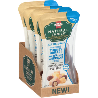 Hormel® Natural Choice™ Oven-Roasted Turkey Breast/Mild White Cheddar Cheese/Dark Chocolate Covered Pretzels Snack Mix 2 oz. Tray