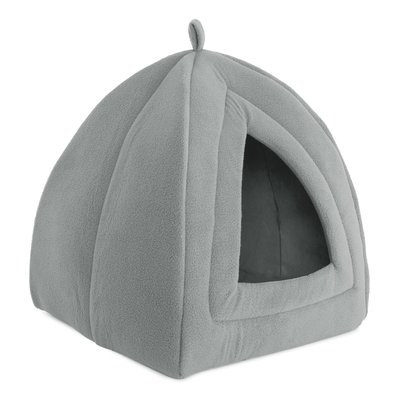 Igloo Cat Bed, Soft Indoor House, Removable Cushion by Petmaker, Gray