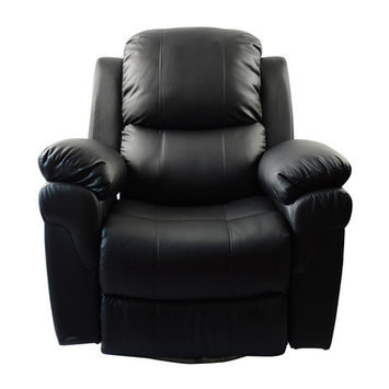 Newacme Llc MCombo Vibrating Swivel Reclining Massage Chair with Heated Lounge Upholstery: Black