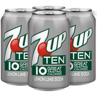 7UP TEN, 12 Fl Oz Cans, 4 Pack