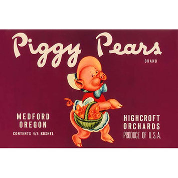 Buyenlarge 'Piggy Pears Crate Label' Vintage Advertisement Size: 66