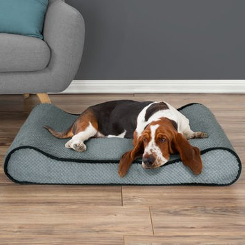 Petmaker Orthopedic Memory Foam Bolster Dog Bed with Bolsters on Both Ends Color: Gray