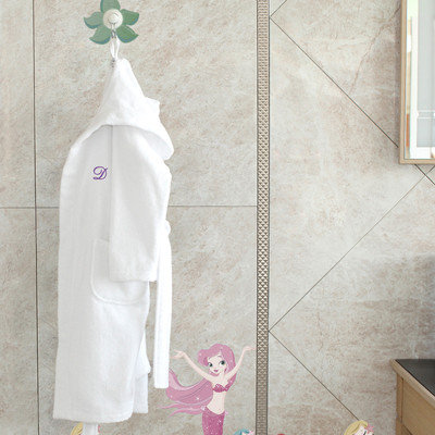 Linum Home Sweet Kids White Turkish Cotton Hooded Unisex Terry Bathrobe and 2 Hand Towels with Embroidered Green Turtle (Set of 3)
