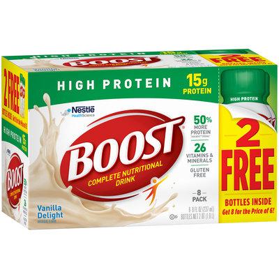 BOOST High Protein Vanilla Delight Complete Nutritional Drink 8-8 fl. oz. Bottles