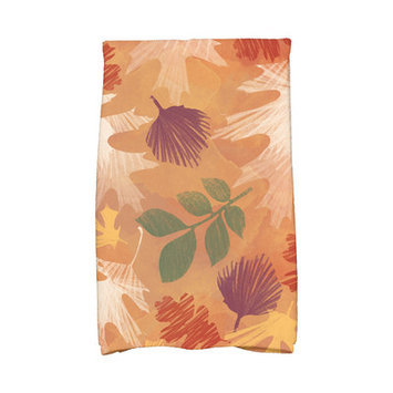 Loon Peak Flipping for Fall Watercolor Leaves Floral Print Hand Towel Color: Rust