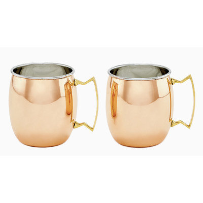 Old Dutch 2 Piece Solid/Stainless Steel Moscow Mule Mugs 2-Ply Set, 16 oz, Copper