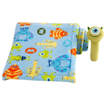 Crown Craft Disney Baby - Monster's Mike - Baby Blanket with Stick Rattle