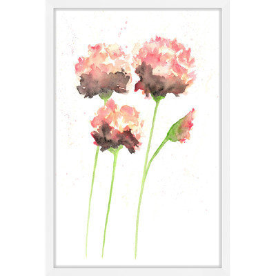 Marmont Hill Inc Marmont Hill - 'Peach Poppies' by Thimble Sparrow Framed Painting Print
