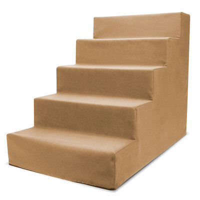 Precioustails Homebase High Density Foam 5 Step Pet Stair Color: Camel Beige