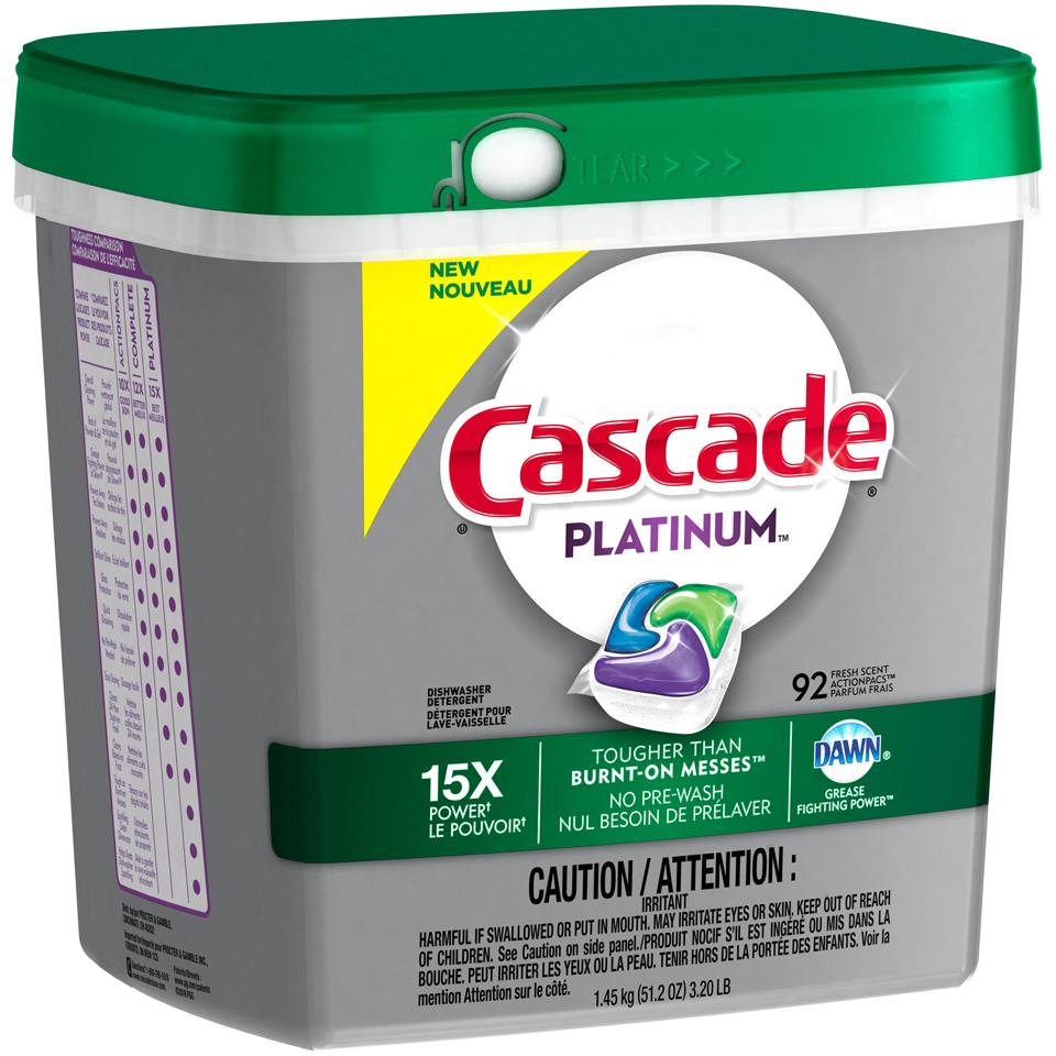 Cascade® Platinum™ Fresh Scent Action Pacs™ Dishwasher Detergent 92 ct Plastic Container