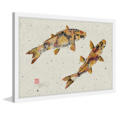 Marmont Hill Inc Marmont Hill - 'Golden Koi' by Dwight Hwang Framed Painting Print