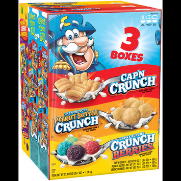 Cap'n Crunch® Variety Pack, Cap'n Crunch®, Peanut Butter Crunch®, Crunch Berries® 3 ct Pack