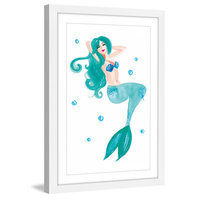 Marmont Hill Inc Marmont Hill - 'Mermaid Blue' by Molly Rosner Framed Painting Print