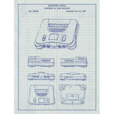 Inked And Screened Gaming 'Nintendo 64 Game Machine' Silk Screen Print Graphic Art in White Grid/Blue Ink