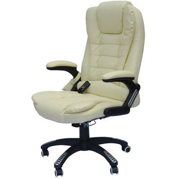 Andover Mills Whiting Faux Leather Heated Massage Chair Upholstery: Cream