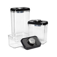 Cuisinart 3-Piece Fresh Edge Vacuum-Seal Food Storage Container Set Color: Black / Stainless Steel