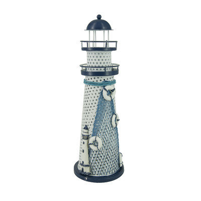 Attractiondesignhome Nautical Anchor Metal Vintage Openwork Ocean Lighthouse Color Changing LED Lantern Night Light