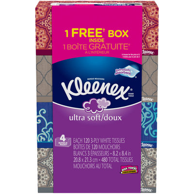 Kleenex® Ultra Soft 3-Ply White Facial Tissue 4-120 ct Boxes